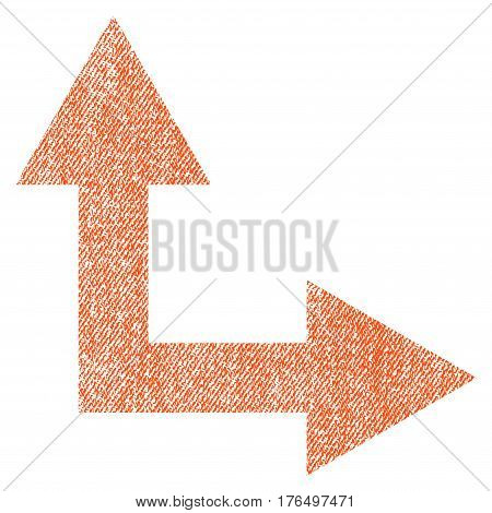 Bifurcation Arrow Right Up vector textured icon for overlay watermark stamps. Fabric orange vectorized texture. Symbol with unclean design. Rubber seal stamp with fiber textile structure.
