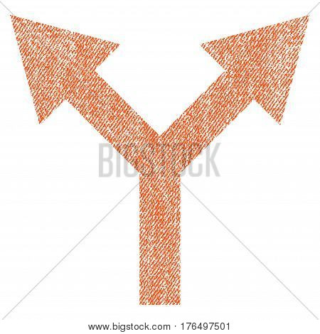 Bifurcation Arrow Up vector textured icon for overlay watermark stamps. Fabric orange vectorized texture. Symbol with scratched design. Rubber seal stamp with fiber textile structure.