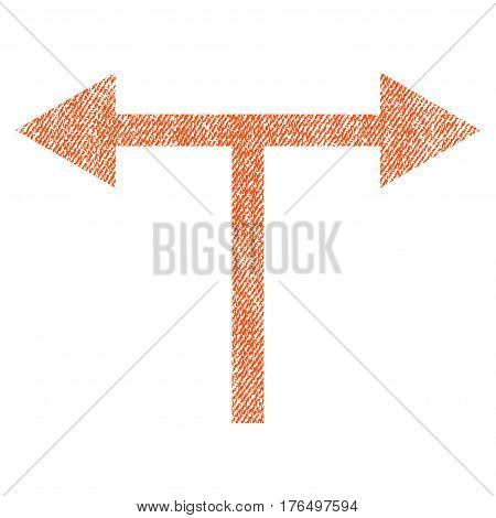 Bifurcation Arrows Left Right vector textured icon for overlay watermark stamps. Fabric orange vectorized texture. Symbol with unclean design. Rubber seal stamp with fiber textile structure.