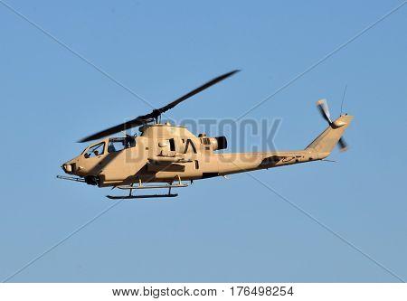 Vietnam war era army helicopter in flight