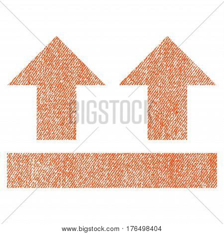 Bring Up vector textured icon for overlay watermark stamps. Fabric orange vectorized texture. Symbol with unclean design. Rubber seal stamp with fiber textile structure.