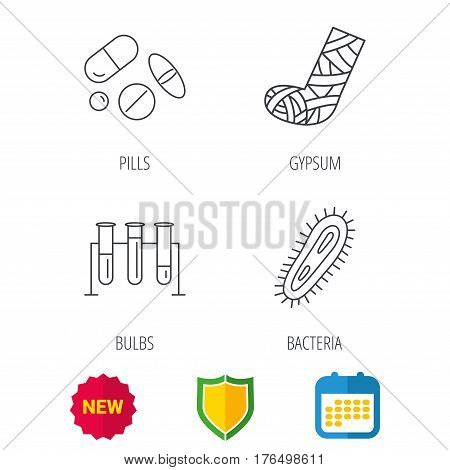 Broken foot, bacteria and medical pills icons. Lab bulbs linear sign. Shield protection, calendar and new tag web icons. Vector
