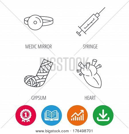 Syringe, heart and gypsum icons. Medical mirror linear sign. Award medal, growth chart and opened book web icons. Download arrow. Vector
