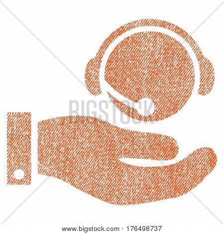 Call Center Service vector textured icon for overlay watermark stamps. Fabric orange vectorized texture. Symbol with dust design. Rubber seal stamp with fiber textile structure.