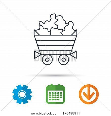 Minerals icon. Wheelbarrow with jewel gemstones sign. Calendar, cogwheel and download arrow signs. Colored flat web icons. Vector