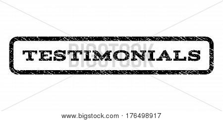 Testimonials watermark stamp. Text caption inside rounded rectangle with grunge design style. Rubber seal stamp with unclean texture. Vector black ink imprint on a white background.
