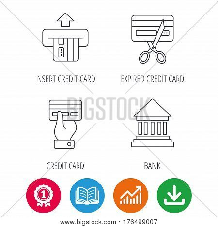 Bank credit card, expired card icons. Give credit card linear sign. Award medal, growth chart and opened book web icons. Download arrow. Vector