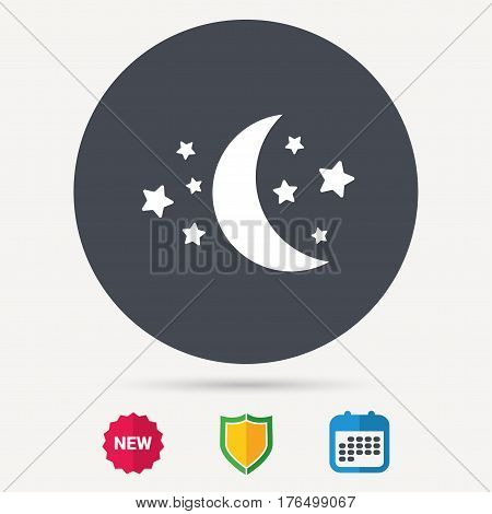 Moon and stars icon. Night sleep symbol. Calendar, shield protection and new tag signs. Colored flat web icons. Vector
