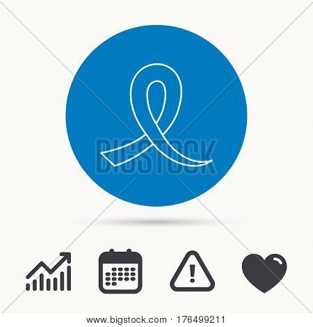 Awareness ribbon icon. Oncology sign. Calendar, attention sign and growth chart. Button with web icon. Vector