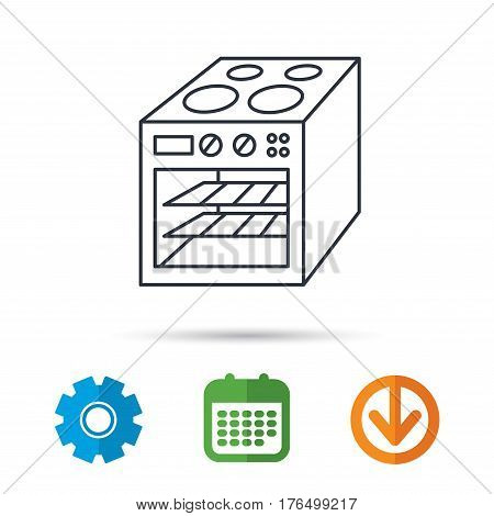 Oven icon. Electric stove sign. Calendar, cogwheel and download arrow signs. Colored flat web icons. Vector