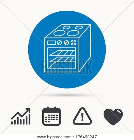 Oven icon. Electric stove sign. Calendar, attention sign and growth chart. Button with web icon. Vector