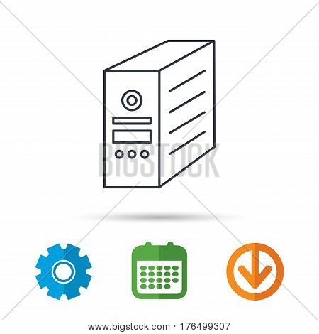 Computer server icon. PC case or tower sign. Calendar, cogwheel and download arrow signs. Colored flat web icons. Vector