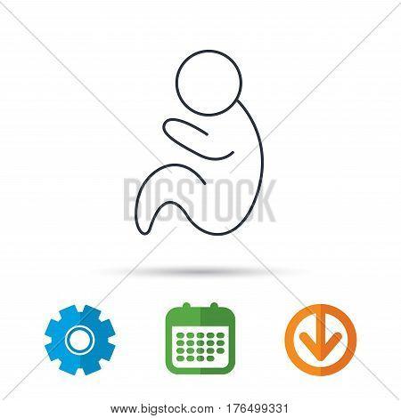 Baby infant icon. Pediatrics sign. Newborn child symbol. Calendar, cogwheel and download arrow signs. Colored flat web icons. Vector
