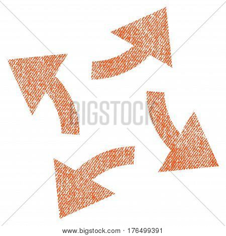 Centrifugal Arrows vector textured icon for overlay watermark stamps. Fabric orange vectorized texture. Symbol with unclean design. Rubber seal stamp with fiber textile structure.