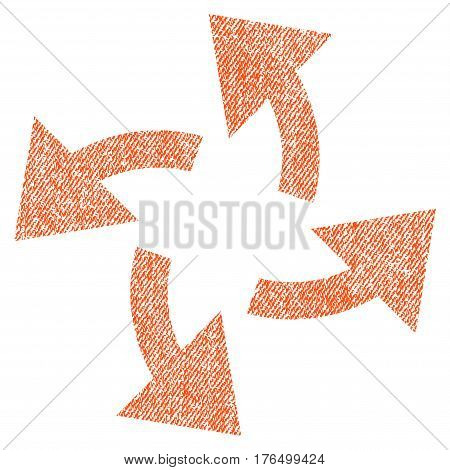 Centrifugal Arrows vector textured icon for overlay watermark stamps. Fabric orange vectorized texture. Symbol with scratched design. Rubber seal stamp with fiber textile structure.