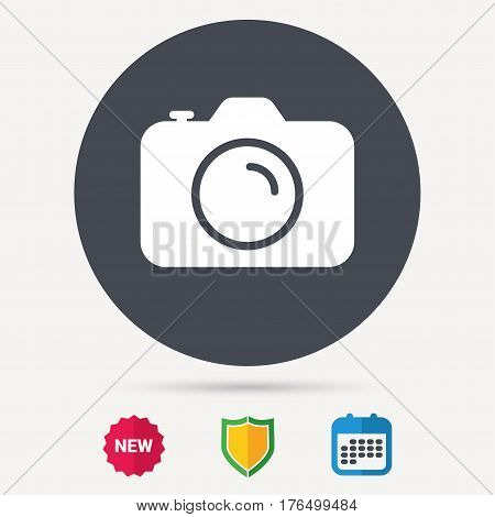 Camera icon. Professional photocamera symbol. Calendar, shield protection and new tag signs. Colored flat web icons. Vector