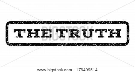 The Truth watermark stamp. Text tag inside rounded rectangle with grunge design style. Rubber seal stamp with dirty texture. Vector black ink imprint on a white background.