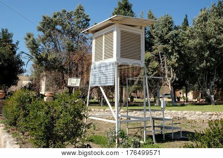 BEIT JAMAL ISRAEL - FEBRUARY 17 2017: First hydrometeorological station in the territory of the Mandated Palestine now Israel. Inscription: historical reference