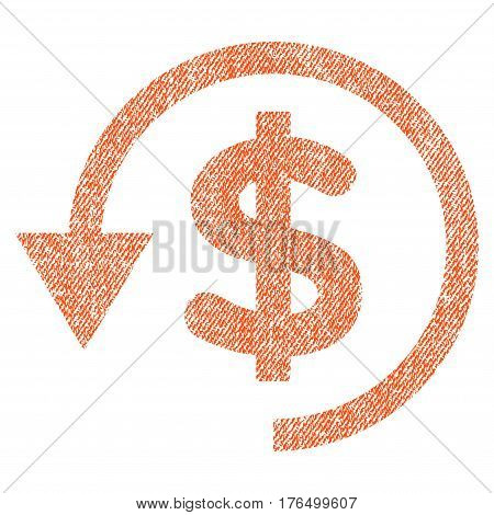 Chargeback vector textured icon for overlay watermark stamps. Fabric orange vectorized texture. Symbol with scratched design. Rubber seal stamp with fiber textile structure.