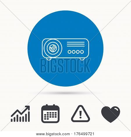 Projector icon. Video presentation device sign. Business office conference tool symbol. Calendar, attention sign and growth chart. Button with web icon. Vector