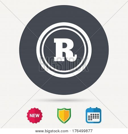 Registered trademark icon. Intellectual work protection symbol. Calendar, shield protection and new tag signs. Colored flat web icons. Vector