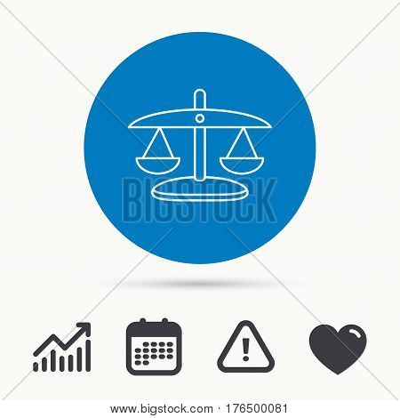Scales of Justice icon. Law and judge sign. Measurement tool symbol. Calendar, attention sign and growth chart. Button with web icon. Vector