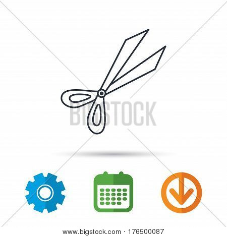 Gardening scissors icon. Secateurs tool sign symbol. Calendar, cogwheel and download arrow signs. Colored flat web icons. Vector