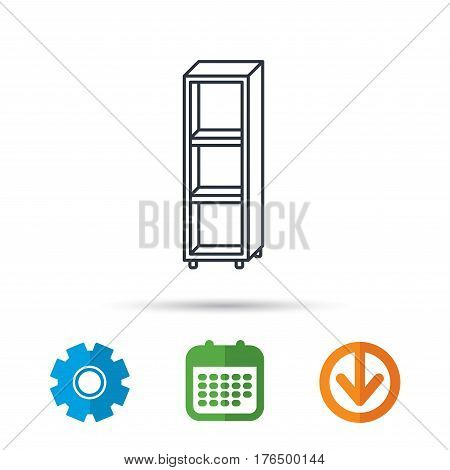 Empty shelves icon. Shelving sign. Calendar, cogwheel and download arrow signs. Colored flat web icons. Vector