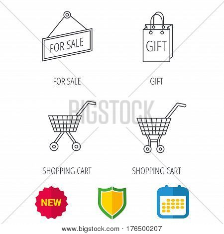 Shopping cart, gift bag and sale icons. For sale linear sign. Shield protection, calendar and new tag web icons. Vector