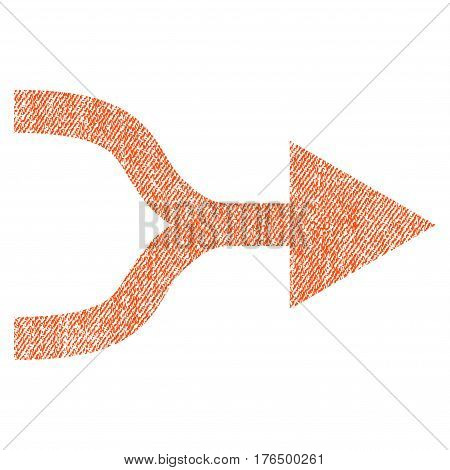 Combine Arrow Right vector textured icon for overlay watermark stamps. Fabric orange vectorized texture. Symbol with unclean design. Rubber seal stamp with fiber textile structure.