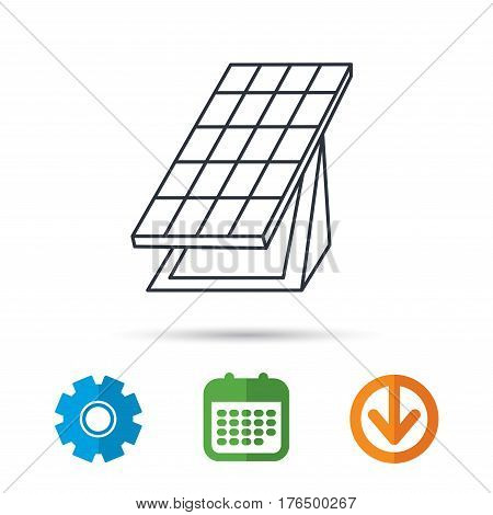 Solar collector icon. Sunlight energy generation sign. Innovation battery power symbol. Calendar, cogwheel and download arrow signs. Colored flat web icons. Vector