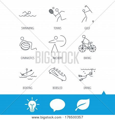 Swimming, tennis and golf icons. Biking, diving and gymnastics linear signs. Archery, boating and bobsleigh icons. Light bulb, speech bubble and leaf web icons. Vector
