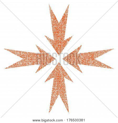Compression Arrows vector textured icon for overlay watermark stamps. Fabric orange vectorized texture. Symbol with scratched design. Rubber seal stamp with fiber textile structure.