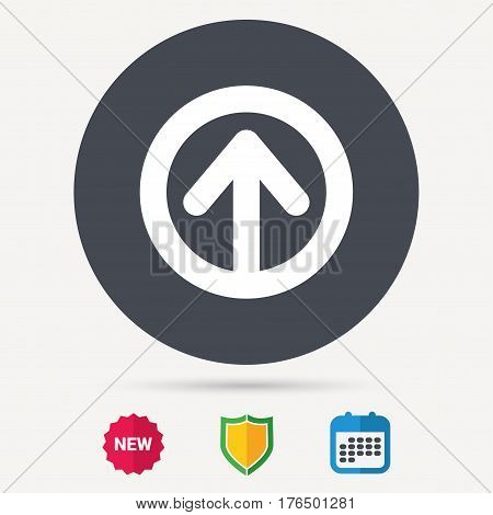Upload icon. Load internet data symbol. Calendar, shield protection and new tag signs. Colored flat web icons. Vector