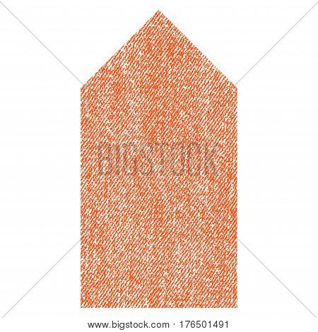Direction Up vector textured icon for overlay watermark stamps. Fabric orange vectorized texture. Symbol with unclean design. Rubber seal stamp with fiber textile structure.