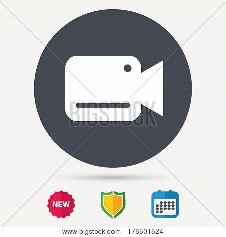 Video camera icon. Film recording cam symbol. Security monitoring. Calendar, shield protection and new tag signs. Colored flat web icons. Vector
