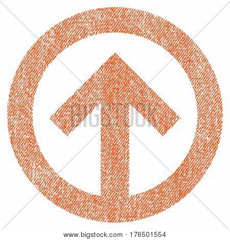 Direction Up vector textured icon for overlay watermark stamps. Fabric orange vectorized texture. Symbol with dust design. Rubber seal stamp with fiber textile structure.