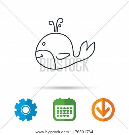 Whale icon. Largest mammal animal sign. Baleen whale with fountain symbol. Calendar, cogwheel and download arrow signs. Colored flat web icons. Vector