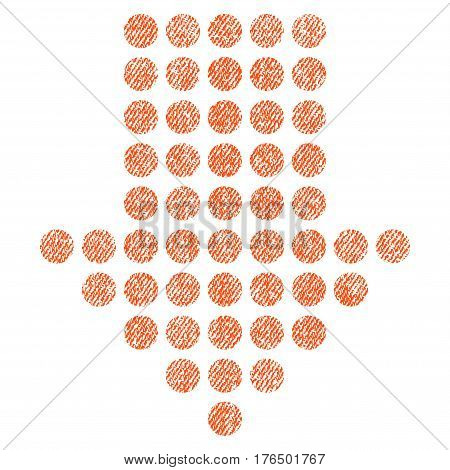 Dotted Arrow Down vector textured icon for overlay watermark stamps. Fabric orange vectorized texture. Symbol with unclean design. Rubber seal stamp with fiber textile structure.