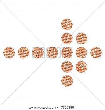 Dotted Arrow Right vector textured icon for overlay watermark stamps. Fabric orange vectorized texture. Symbol with dirty design. Rubber seal stamp with fiber textile structure.