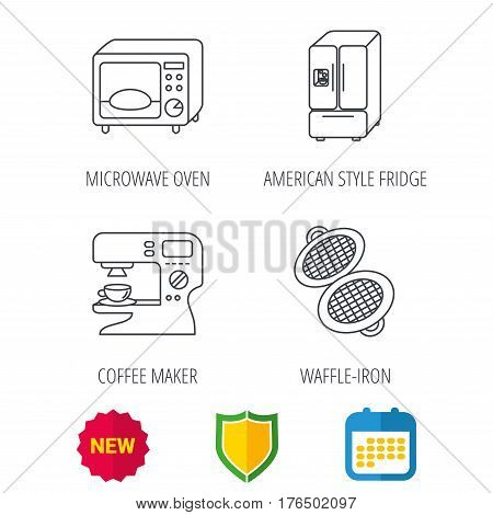 Microwave oven, waffle-iron and American style fridge icons. Coffee maker linear sign. Shield protection, calendar and new tag web icons. Vector