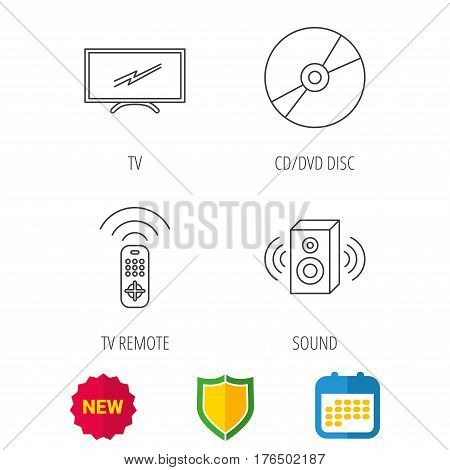 TV remote, sound and DVD disc icons. Widescreen TV linear sign. Shield protection, calendar and new tag web icons. Vector