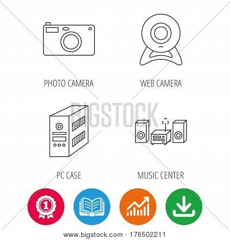 Photo camera, pc case and music center icons. Web camera linear sign. Award medal, growth chart and opened book web icons. Download arrow. Vector