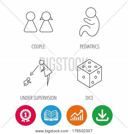 Couple, paediatrics and dice icons. Under supervision linear sign. Award medal, growth chart and opened book web icons. Download arrow. Vector