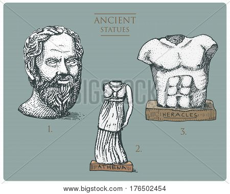 ancient Greece, antique sculptures of athena, socratus and hercules, heracles vintage, engraved hand drawn in sketch or wood cut style, old looking retro, isolated