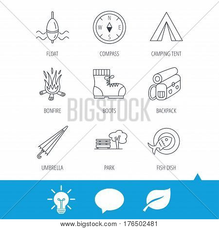 Park, fishing float and hiking boots icons. Compass, umbrella and bonfire linear signs. Camping tent, fish dish and tree icons. Light bulb, speech bubble and leaf web icons. Vector