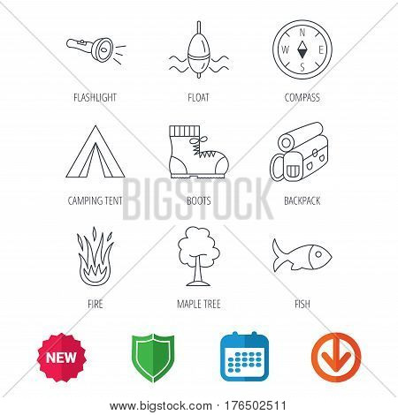 Maple tree, fishing float and hiking boots icons. Compass, flashlight and fire linear signs. Camping tent, fish and backpack icons. New tag, shield and calendar web icons. Download arrow. Vector