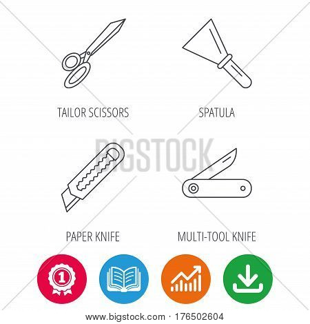 Paper knife, spatula and scissors icons. Multi-tool knife linear sign. Award medal, growth chart and opened book web icons. Download arrow. Vector