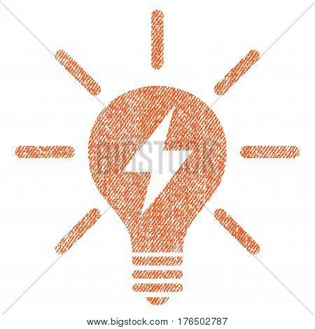 Electric Light Bulb vector textured icon for overlay watermark stamps. Fabric orange vectorized texture. Symbol with dirty design. Rubber seal stamp with fiber textile structure.