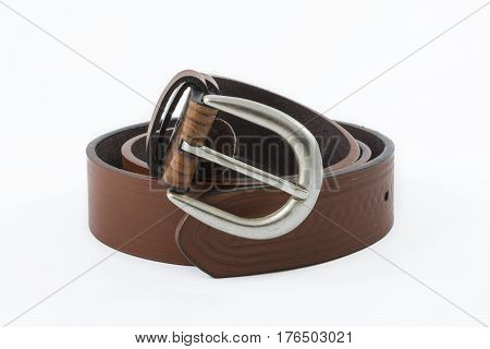 Brown leather men's belt on a white background